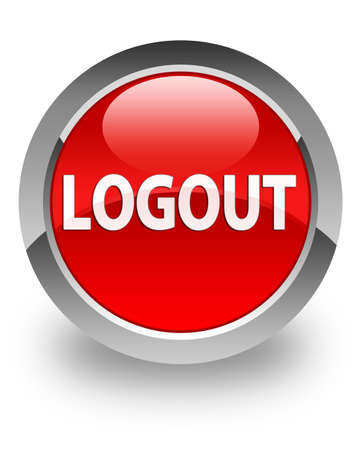 Logout  text  icon on glossy red round button photo