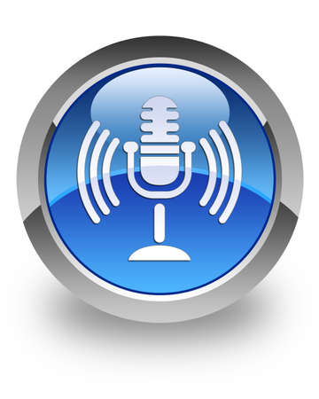 Microphone icon on glossy blue round button