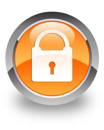 Padlock icon on glossy orange round button Stock Photo - 14516132