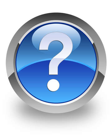 Question mark icon on glossy blue round button photo