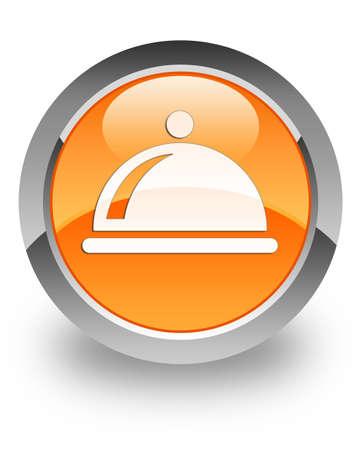 Restaurant icon on glossy orange round button photo