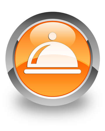Restaurant icon on glossy orange round button photo