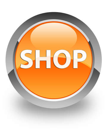 Shop icon on glossy orange round button Stock Photo - 14516141