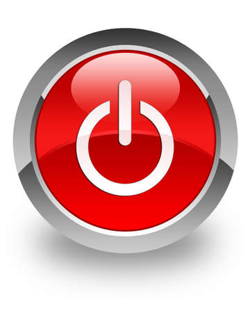 Power Off icon on glossy red round button Stock Photo - 14516139