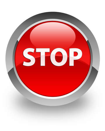 Stop icon on glossy red round button Stock Photo - 14516138