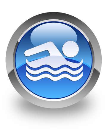 nuoto: Nuoto icon piscina sul pulsante rotondo lucido blu Archivio Fotografico