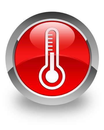 termometro: Term�metro icono en el bot�n redondo rojo brillante