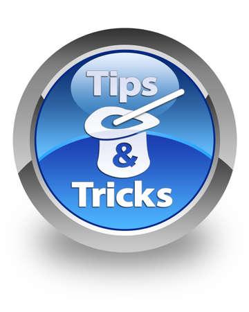 Consejos Trucos icono en el botón redondo azul brillante Foto de archivo