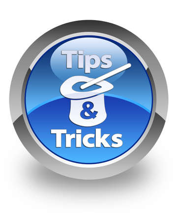 Tips   Tricks icon on glossy blue round button Stock Photo - 14516160
