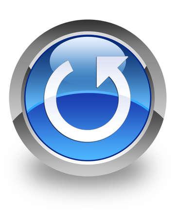 refrescarse: Deshacer el icono en el botón redondo azul brillante Foto de archivo