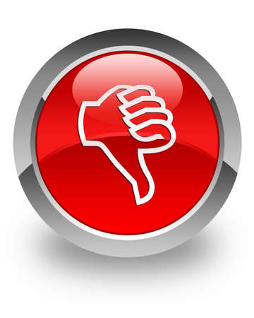 THUMBS DOWN: Unlike   No deal icon on glossy red round button Stock Photo