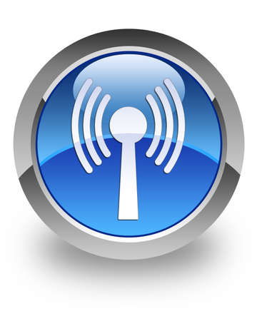 crossover: WLAN icon on glossy blue round button Stock Photo