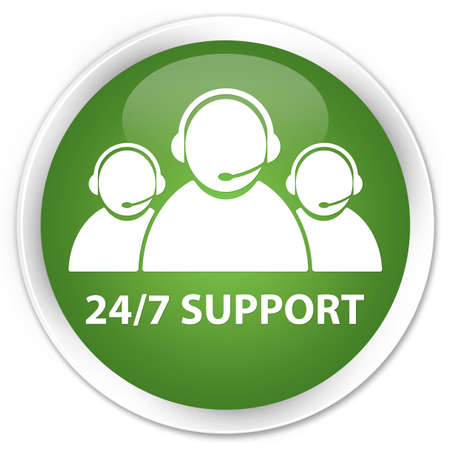 working hour: 24 7 Support team glossy green button