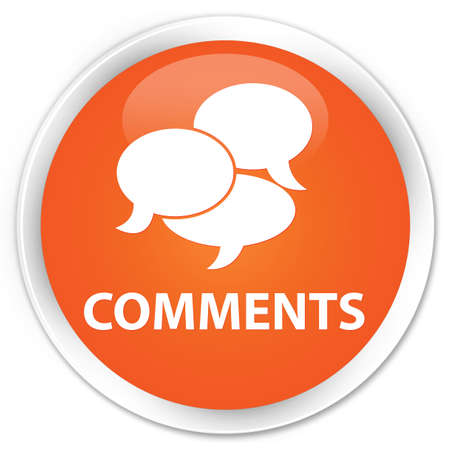 feedback: Comments glossy orange button Stock Photo