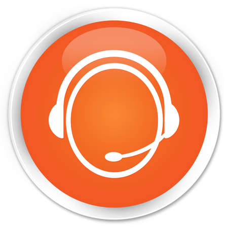 Customer care icon glossy orange button