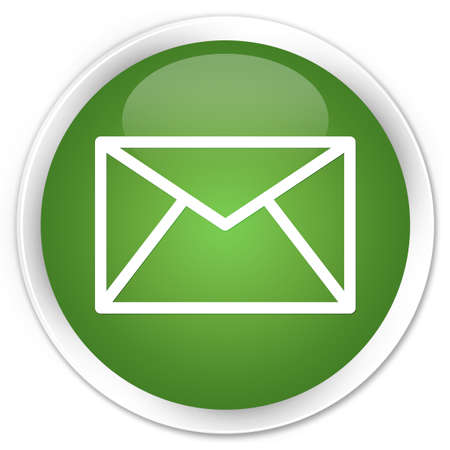 Email icon glossy green button Stock Photo - 15843393