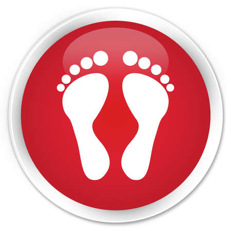 Footprint icon glossy red button Stock Photo - 15843356
