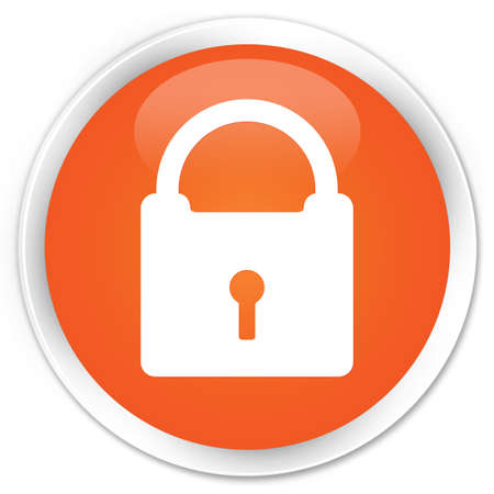 insecure: Padlock icon glossy orange button Stock Photo