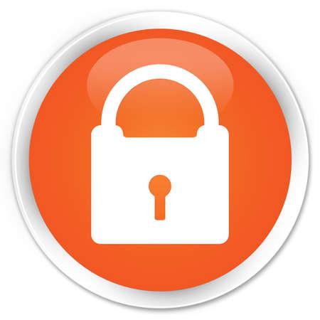 Padlock icon glossy orange button Stock Photo - 15843330