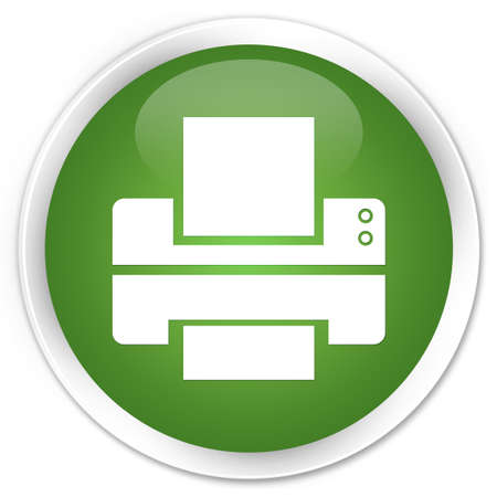 multifunction printer: Printer icon glossy green button Stock Photo
