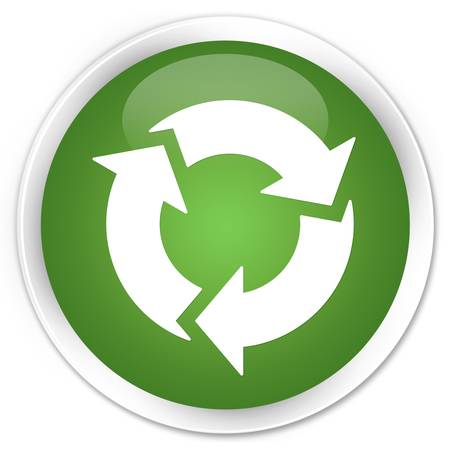 Refresh icon glossy green button Stock Photo - 15843373