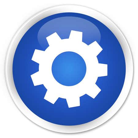 Process icon glossy blue button photo