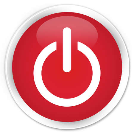 on off: Shut down icon glossy red button