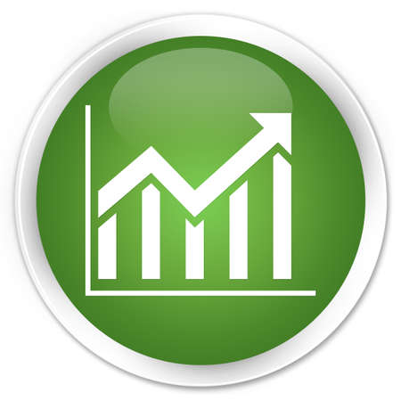 Statistics icon glossy green button Stock Photo