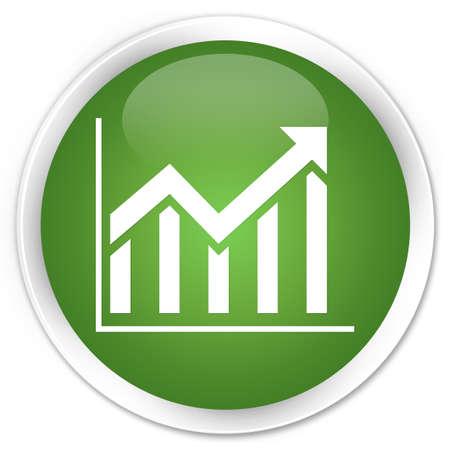Statistics icon glossy green button Stock Photo - 15843382