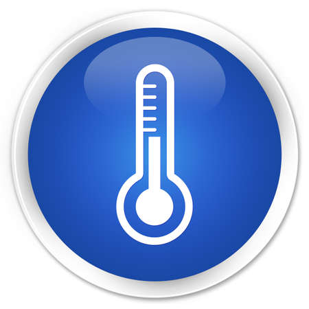 Thermometer icon glossy blue button photo