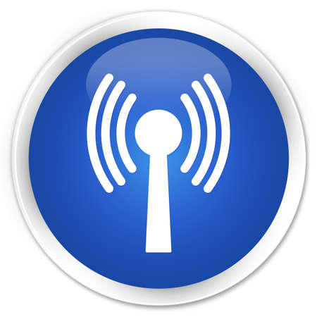wireless tower: Wlan network icon glossy blue button Stock Photo