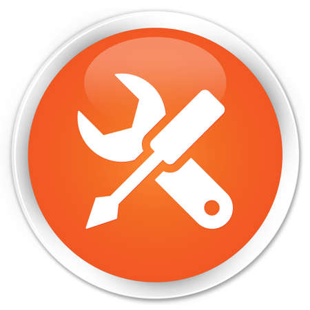 Settings icon glossy orange button Stock Photo