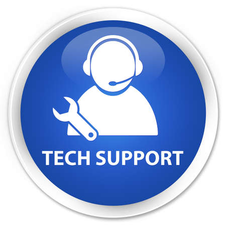 support center: Tech Support glossy blue button Stock Photo