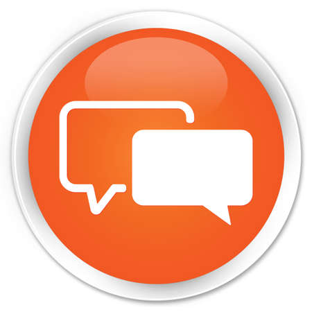 Testimonials icon glossy orange button Stock Photo - 16278987