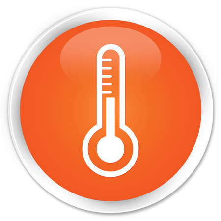 Thermometer icon glossy orange button photo