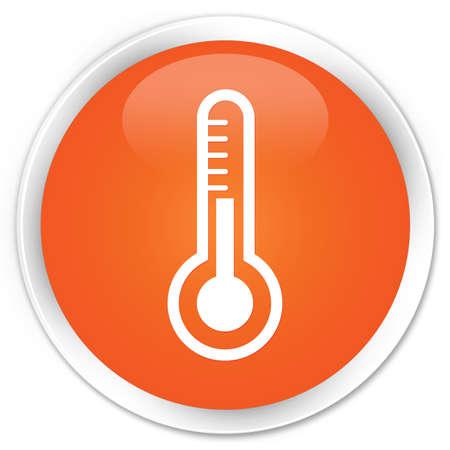 thermostat: Thermometer icon glossy orange button