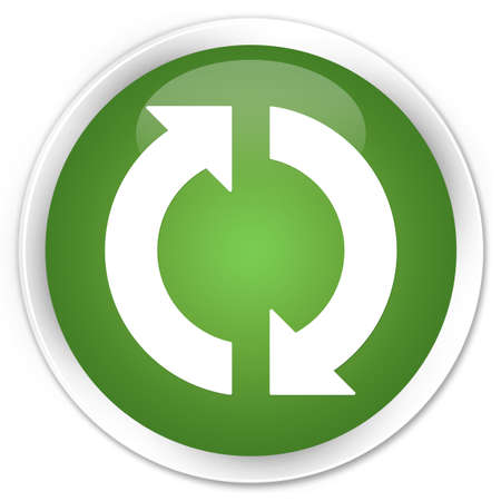 update: Update icon glossy green button Stock Photo