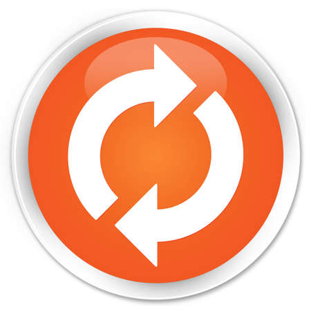 Update icon glossy orange button Stock Photo - 16278993