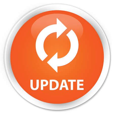 refrescarse: Actualizar botón naranja brillante Foto de archivo