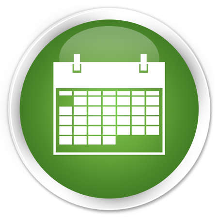round icons: Calender icon glossy green button Stock Photo