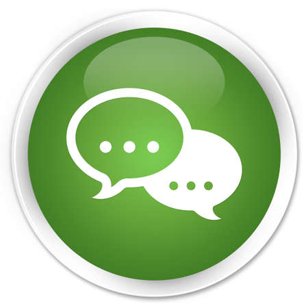 Chat icon glossy green button photo