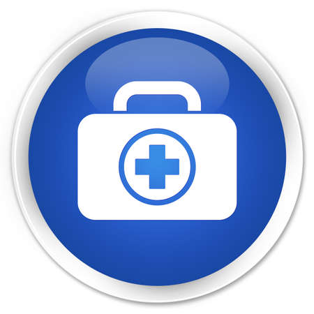 First aid kit icon glossy blue button photo