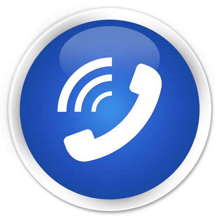 telephone cable: Phone ringing icon glossy blue button Stock Photo
