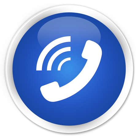 hotline: Telefoon rinkelen pictogram glanzende blauwe knop Stockfoto