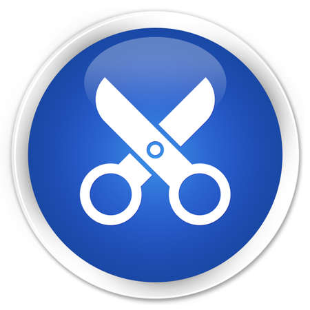 Scissors icon glossy blue button Stock Photo - 16583637