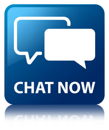 Chat now glossy blue reflected square button Stock Photo - 16583594