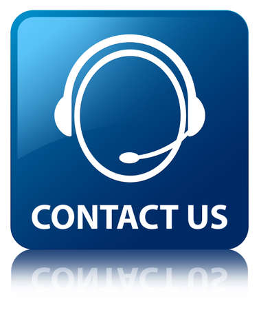 us open: Contact us  customer care headphone  glossy blue reflected square button Stock Photo