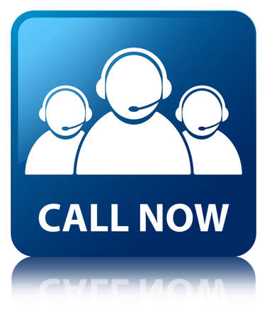 Call now glossy blue reflected square button photo