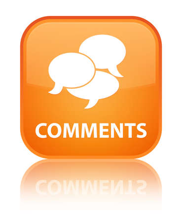 Comments glossy orange reflected square button Stock Photo - 16603622