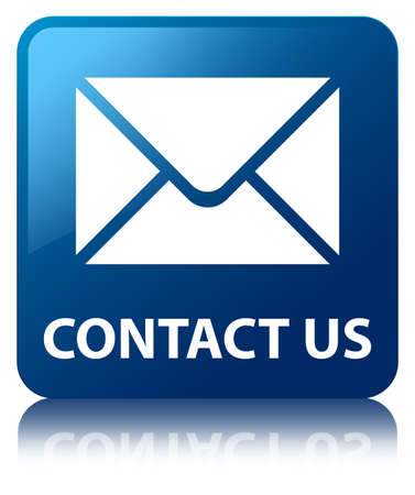 contact person: Contact us glossy blue reflected square button